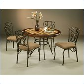 Pastel Furniture Vienna Poly Travertine Dining Set in Roletta Brown