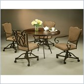 Pastel Furniture Vienna Hard Wood Caster Dining Set in Roletta Brown