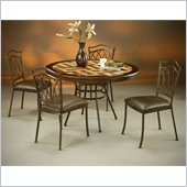 Pastel Furniture Westport Poly Travertine Dining Set in Roletta Brown