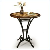 Pastel Furniture Athena 36 Round Travertine Pub Table in Autumn Rust