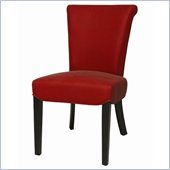 Pastel Furniture Hannah Side Chair in Bonded Red Leather