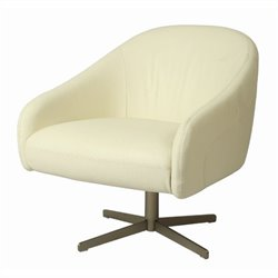 Pastel Furniture Dawsonville Leather Club Barrel Chair in White