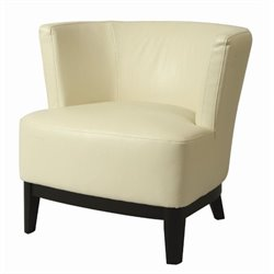Pastel Furniture Evanville Leather Slipper Chair in White