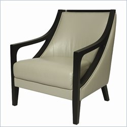 Pastel Furniture Fouquet leather Swayback Club Chair in Gray