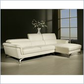 Pastel Furniture Elloise Sectional in Top Grain White Leather