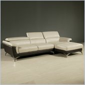 Pastel Furniture Elloise Sectional in Top Grain Two Tone Leather