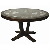 Pastel Furniture Devon Coast Round Glass Insert Dining Table in Cherry
