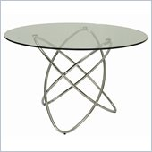Pastel Furniture Fleishman Round Glass Top Dining Table in Chrome
