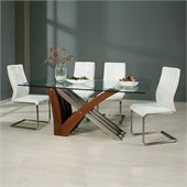 Pastel Furniture Akasha 5 Piece Dining Set w/ Olander Chairs