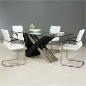 Pastel Furniture Akasha 5 Piece Dining Set in Ivory/Wenge