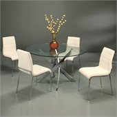 Pastel Furniture Fahrenheit 5 Piece Dinette w/ Ivory Fort James Chairs