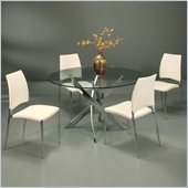 Pastel Furniture Fahrenheit 5 Piece Dinette w/ Ivory Ferguson Chairs