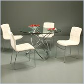 Pastel Furniture Fleishman 5 Piece Dinette w/ Ivory Fleming Chairs