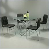 Pastel Furniture Fleishman 5 Piece Dinette w/ Black Fleming Chairs