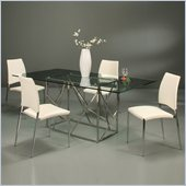 Pastel Furniture Firouzeh 5 Piece Dining Set w/ Ivory Ferguson Chairs