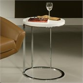 Pastel Furniture Metro High Gloss Wood Finish End Table in White