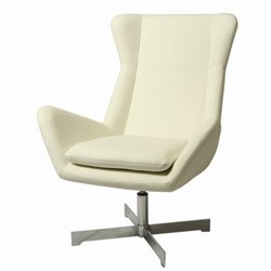 Pastel Furniture Seneca Leather Club Chair in Ivory