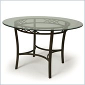 Pastel Furniture Atrium Round Glass Top Dining Table in Autumn Rust