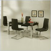 Pastel Furniture Monaco Black Glass 5 Piece Dining Set with Skyline Chairs