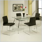 Pastel Furniture Roman 5 Piece Glass Top Dining Set in Black