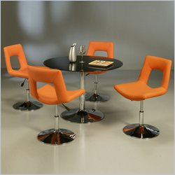 Pastel Furniture Sundance Black Glass 5 Piece Dining Set with Dublin Orange Chairs