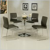 Pastel Furniture Sundance Black Glass 5 Piece Dining Set with Golden Gate Chairs