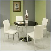 Pastel Furniture Sundance Black Glass 5 Piece Dining Set in Black and White