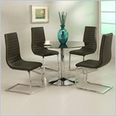 Pastel Furniture Sundance Black Glass 5 Piece Dining Set with Skyline Chairs