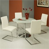 Pastel Furniture Sundance Frosted Glass 5 Piece Dining Set with Monaco Chairs