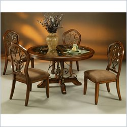 Pastel Furniture Carmel 5 Piece Round Casual Dining Table Set in Cosmo Sepia