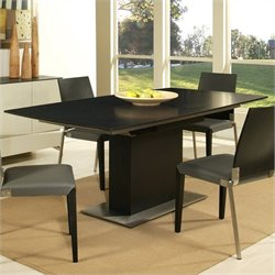 Pastel Furniture Quinn Dining Table in Stainless Steel and Wenge