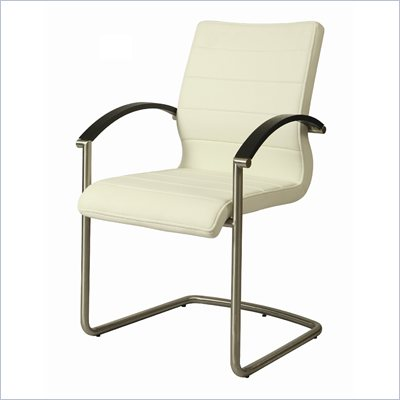 Pastel Furniture Akasha Side Chair in Ivory/Wenge Veneer