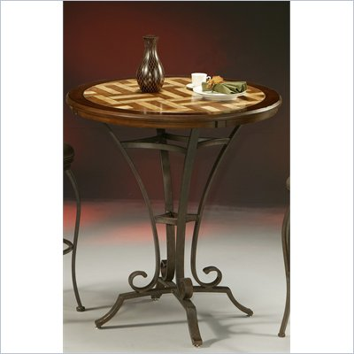 "Pastel Furniture Athena 36"" Round Travertine Pub Table in Autumn Rust"