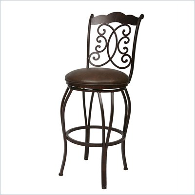 Pastel Furniture Athena Rust 26'' Swivel Counter Stool in Florentine Coffee