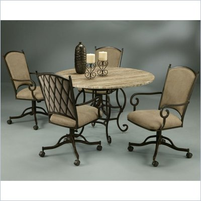 Pastel Furniture Atrium 5 Piece Travertine Elegant Dining Set