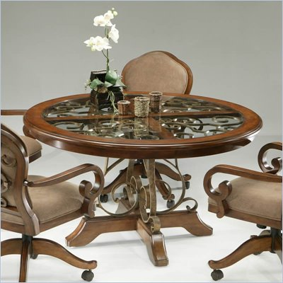 Pastel Furniture Carmel Round Casual Dining Table in Cosmo Sepia Finish