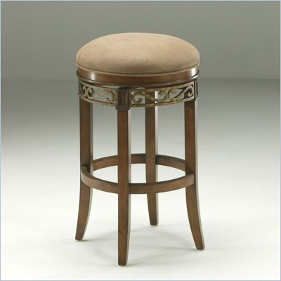 Pastel Furniture Carmel 26'' Swivel Backless Counter Stool in Dakota Toffee