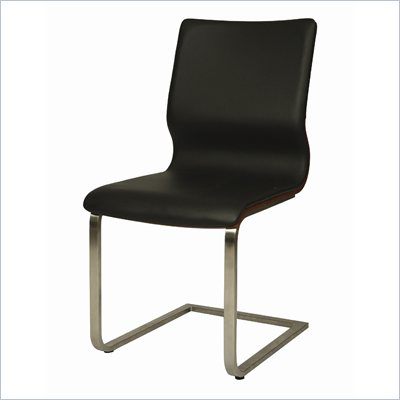 Pastel Furniture Charlize Side Chair in Black/Walnut Veneer