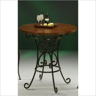 "Pastel Furniture Magnolia 40"" Hammered Metal Pub Table in Autumn Rust"