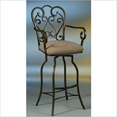 Pastel Furniture Magnolia Rust 26&quot; Arm Swivel Bar Stool in Moccasin