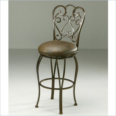 "Pastel Furniture Magnolia Rust 26"" Swivel Bar Stool in Florentine Coffee"