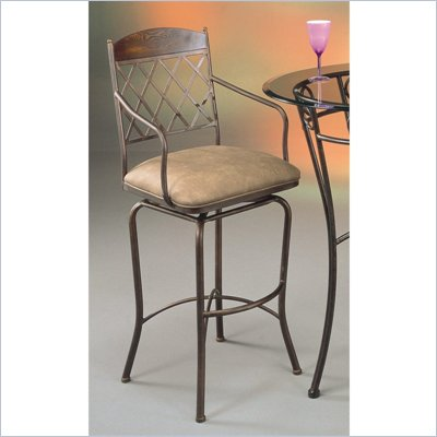 Pastel Furniture Napa Ridge Bronze 30&quot; Swivel Arm Bar Stool in Shandora Toast