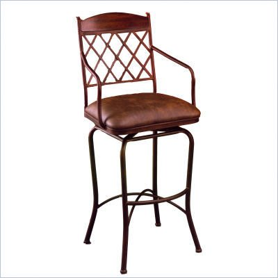 "Pastel Furniture Napa Ridge Rust 30"" Swivel Arm Bar Stool in Florentine Coffee"