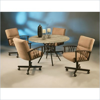 Pastel Furniture Ravenwood Caster Tavertine Dining Set