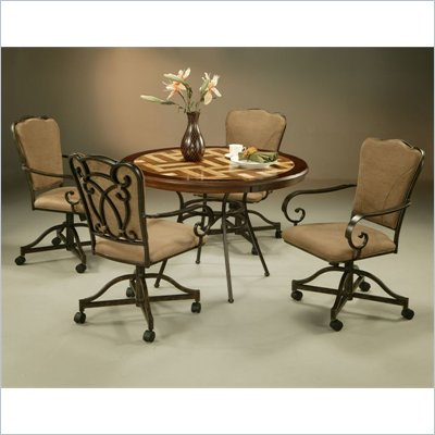 Pastel Furniture Vienna Travertine Caster Dining Set in Roletta Brown