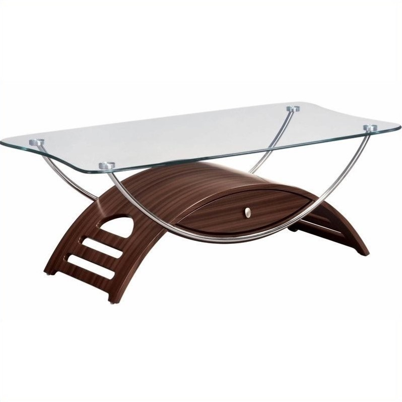 Sweeney Glass Top Coffee Table in Mahogany Finish