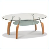 Global Furniture USA Francis Oval Glass Top Coffee Table in Natural Light Cherry