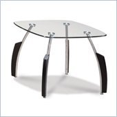 Global Furniture USA Francis End Table with Glass Top in Black