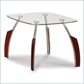 Global Furniture USA Francis End Table with Glass Top in Mahogany