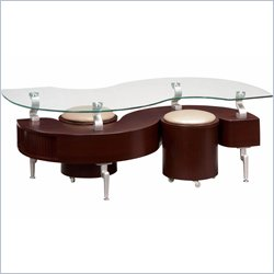 Global Furniture USA Dontai Glass Top Coffee Table in Mahogany
